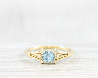 Aquamarine and diamond handmade engagement ring round art deco 1920's inspired ring in gold for her unique