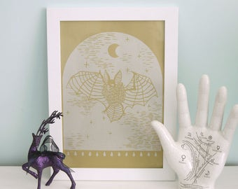 LIMITED EDITION The Witching Hour Golden Art Print, 21 cm x 29.7 cm Wall Art