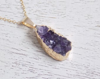 Small Amethyst Necklace, Boho Necklace, Raw Amethyst Pendant, February Birthstone, Purple Druzy Necklace, Gold Layering Necklace, Gift, 6-98