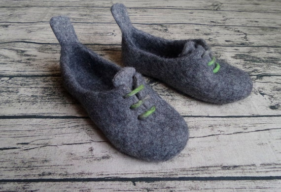Unisex Adults Felt slippers Oxfords Grey Green Wool slippers Customized Sneakers shoes