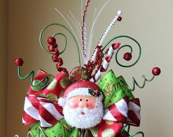 Santa Christmas Tree Topper, Christmas Tree Topper Bow, Santa wreath bow, Christmas Decoration, Christmas centerpiece