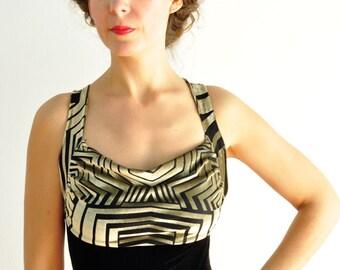 Black and gold velvet tango dress