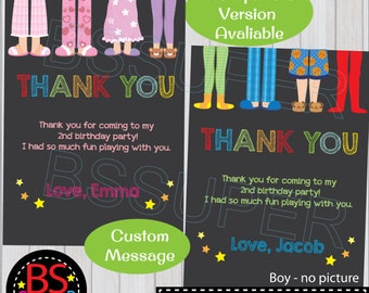 PAJAMA PARTY Thank you card, Sleepover Party Thank you tag