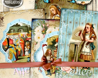 ALICE POSTCARD printable 7x5 inch postcard - Digital collage sheet wonderland scrapbook diary invited instant download background - pp368