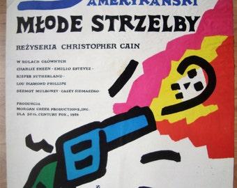 Young Guns, Western Movie, Polish POSTER, 1980s, wall art print, illustration art, boyfriend gift, Charlie Sheen, designed by Mlodozeniec