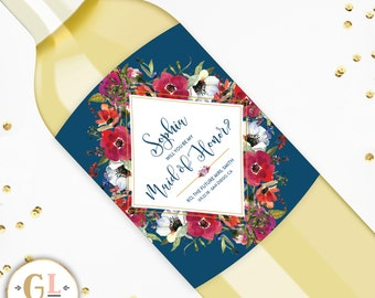 Will you be my Bridesmaid Wine labels, Bridesmaid Proposal Gift, Ask Maid of Honor Gift, Custom Will you be my Maid of Honor Champagne Label