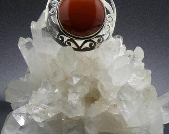 Carnelian Sterling Silver Pendant.