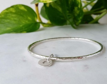 Sterling silver Bracelet Bangle Bangle with hand stamped initial tag