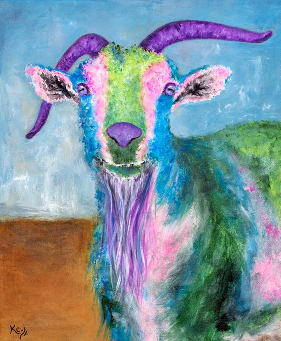 Goat Painting. Goat Art. Original Billy Goat Painting. A Unique Gift for People who Love Goats!