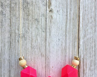 Geo Necklace, Hot Pink