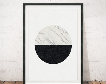Minimalist print, Marble print, Geometric art, Circle print, Black and white, Home art, Modern art, Minimal art, Nordic style, Marble decor