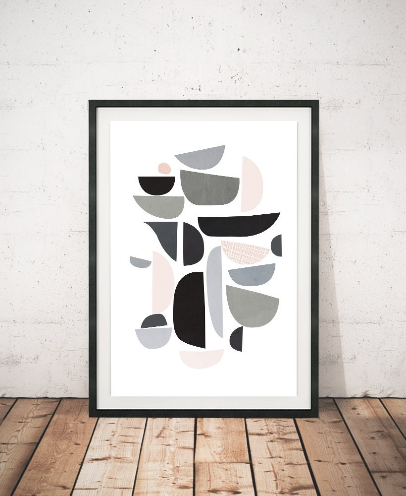 mid century modern abstract print modern posters. Black Bedroom Furniture Sets. Home Design Ideas