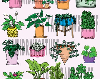 Pets and Plant Print