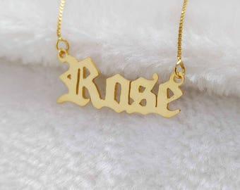 Old English Name Necklace,Old English Letter Necklace,Old English Necklace,Old English Font Necklace,Personalized Any Name Necklace
