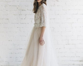 Wedding Skirt, Nude Champagne Tulle Skirt , Bridal Skirt , Wedding Separates ,  Floor Length Wedding Skirt , Bridal Skirt with Train - PEONY