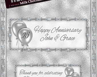 Silver Wedding Anniversary Candy Bar Wrappers 1.55 oz. Hershey's Milk Chocolate