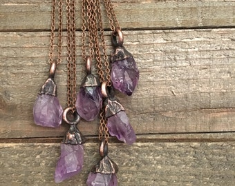 Raw Amethyst Necklace Raw Crystal Amethyst Necklace Rough Amethyst Jewelry Hippie Gypsy Jewelry Witchy Necklace Electroformed Boho Layering