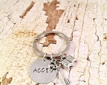 Harry Potter keychain, Accio keychain, Book Charm Bracelet, Key charm, Harry Potter fan, HP Fandom, Hand stamped ACCIO, key summoner