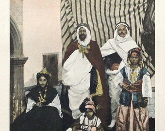 Arab family, Algeria, original 1895 print - Ethnic, Muslim, folk, traditional dress - 120 years old antique photographic illustration (C225)