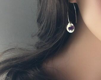 Amethyst & silver drop earrings-handmade hammered sterling silver-marquise style silver amethyst earrings-february birthstone