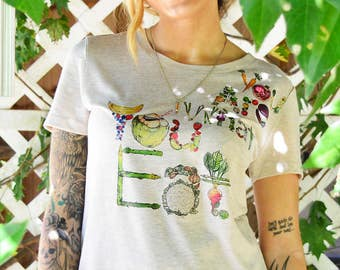 You Are What You Eat T-Shirt, Eat Your Veggies Tee Shirt, Vegan Shirt, Fruits and Vegetables Graphic Tee, Handmade in the USA