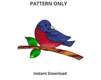 "Stained Glass Pattern - Stained Glass Bird - Bird Suncatcher Pattern - Bird on a branch -  7 3/4"" wide"