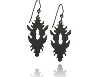 Black rorschach inkblot inspired powdercoated dangle earrings