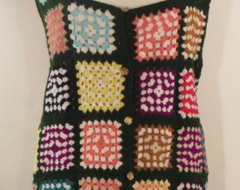 Vintage 1960s gorgeous hand-crocheted multi-coloured patchwork wool gilet with gold buttons, UK size 8, US 6, EU 36.