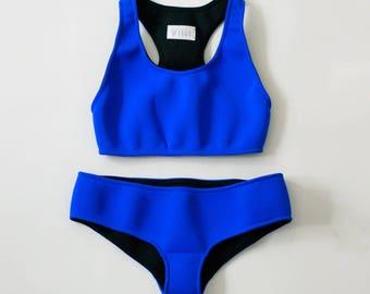 Sporty Electric Blue Neoprene Bikini Bottom