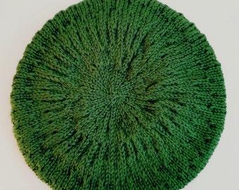 Knit Green Beret Hat for Women