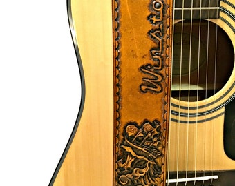 Ship in Stormy Waters Hand Tooled Leather Guitar Strap, Old Ship in the Ocean, Pirate Ship in the Waves, Custom Guitar Strap, Guitar Straps