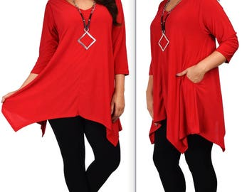 Comfyplus tUNIC, Versatile and Oversize Tunic, lagen look Tunic,  Plus size tunic with side pockets. Fits 1XL/2XL/3XL