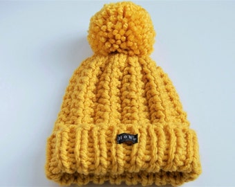 Mustard Bobble Hat. Womens or mens thick chunky knit yellow pom pom beanie, hand knitted in easy care acrylic yarn extra large removable pom