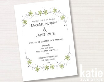wedding invitation - daisychain - printable invitation - 5x7 - countrystyle - daisy illustration