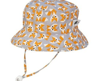 Child's Sun Protection Camp Hat - Organic Cotton Print in Foxes (6 month, xxs, xs, s, m, l)