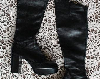 Vintage Rare original Black 60s 70s hippy leather platform Over the knee boots uk size 6 6.5 Eur 39 39.5 us 8 8.5