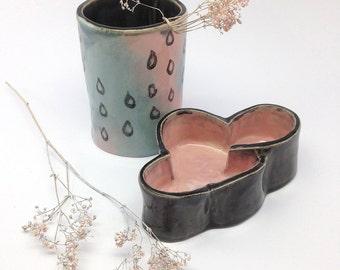"ceramic desk organizer set ""cloudy"", pencil holder"