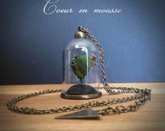 """Bijoux Collier mini-terrarium en verre """"Expression du coeur"""" - coeur en mousse -"""