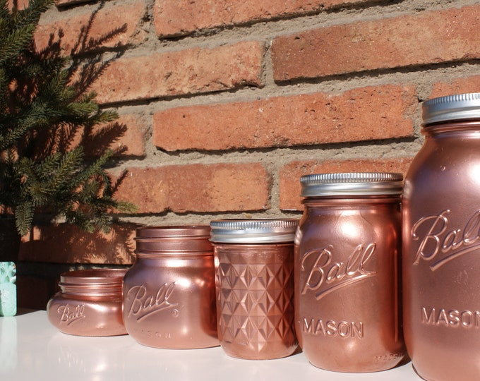 Copper Hand Painted Ball Mason Jar // Centerpieces // Flower Vase // Wedding Decor // Mother's Day Gift // Unique Gift // Pretty Storage Jar