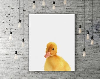 Yellow Duck Art, Farmhouse Decor, Peekaboo Duckling Cute Animal Nursery Art, Farm Art, Duck Print, Cute Room Decor, Farm Animal Print