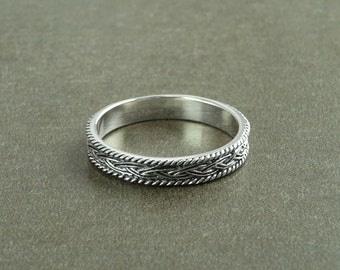 Celtic Band Ring, Sterling Silver 925, Celtic Ring, Entwined Braided Ring, Hipster Ring, wedding band, Original wedding Ring, Engraved Band
