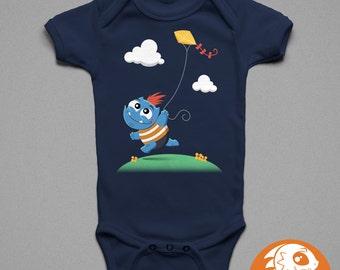 Monster Flying a Kite | Children's T-Shirt | Baby Onesie | Cute | Monster