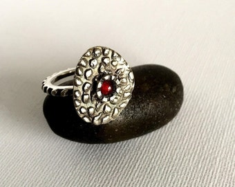 Sterling Silver Garnet ring,hand crafted,925,rustic,organic,abstract,statement,modern,contemporary,relic,artisan,folk,art,ethnic,tribal,boho