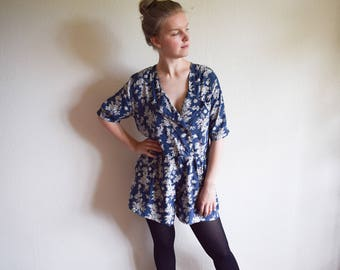 Vintage Jumpsuit, Blue Floral Playsuit Large, Boho Summer Romper With Flowers