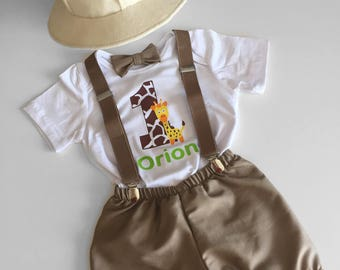 Safari Jungle Explorer Theme Cake Smash Outfit Boy, Personalised Safari Theme with Felt Hat, Baby Boy 1st Birthday Outfit, Baby Photoshoot