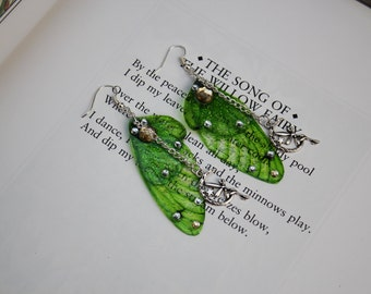 Leaf Green and Silver Sparkle Fairy Charm - Fairy Wing/Butterfly Earrings