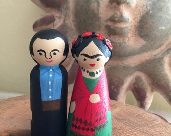 """Frida and Diego peg dolls - Mexican Chic - cake topper - Hand Painted ( Large 3.5"""" )"""