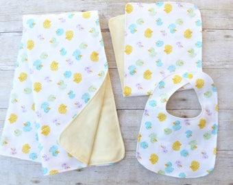Duck Blanket,Bib and Burp Cloth, Duck Nursery, Duck Baby Shower,Duck Bib, Baby Duck, Flannel Baby Blanket, Gender Neutral, Neutral Baby Gift