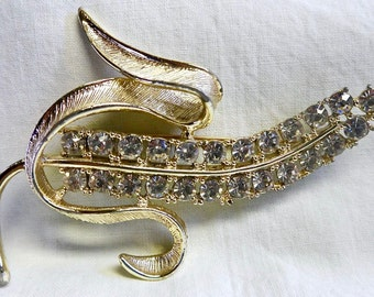 Vintage Sarah Coventry Pin Brooch Radiance Corn Husk Gold Tone with Rhinestones Large