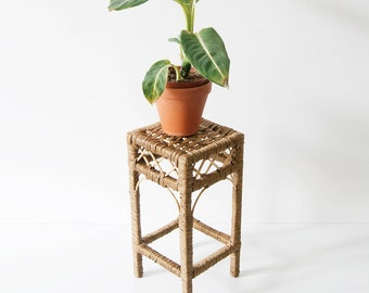 Flower stool sisal braid, small stools, bast, square plant stand, basket weave